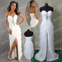 2014 Hot Sell Sweetheart Beading Prom Gown Front Side- slit F...