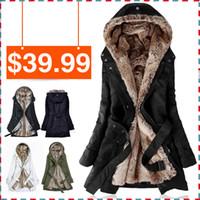Jackets Women Cotton Faux fur lining women's fur Hoodies Ladies coats winter warm long coat jacket cotton clothes thermal parkas