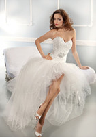 best white lace dress - Hi Lo Dress Collection Best selling Sweetheart Strapless Detachable Beaded Sash Tulle Lace Wedding Dresses Ivory White Bridal Gown