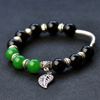 Charm Bracelets Natural crystal / semi-precious stones Agate Ethnic Chinese style retro jewelry industry with original green agate black agate wholesale Miao silver bracelet female models 306B