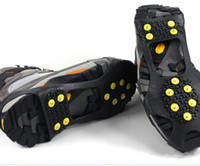 Wholesale Studded Shoes Wholesale - 10 pcs Over Shoe Studded Snow Grips Ice Grips Anti Slip Snow Shoes Crampons Cleats