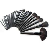 Wholesale S5Q x Professional Goat Hair Makeup Cosmetic Brush Set Black Case Kits Bag AAAASD