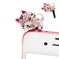 al por mayor cristal gato del auricular-S5Q del teléfono móvil de cristal gato lindo del enchufe del polvo de Gato del auricular de 3.5mm linda caja de regalo AAABPI