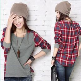 Wholesale 2014 new fashion lattice split joint loose and comfortable long sleeve women sweater T shirt S M L XL XXL