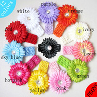 Wholesale 12Colors Baby Crochet Headbands Knitted Children s Hair Band Head Band Diasy Flower Hairbands Accessory