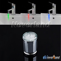 Wholesale Neverland Christmas Gift Color Change Water Glow Shower Spraying Head LED Faucet Taps Kitchen Bathroom Sink Faucets