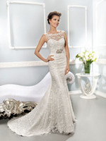 Wholesale 2014 Collection Best selling Illusion Neckline Covered Button Mermaid Sheath Lace Wedding Dresses Ivory White Zipper Bridal Gowns