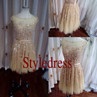 A-Line Real Photos Scoop Elie Saab Sexy Real Actual Image Boat Neck Gold Lace Beads Short Prom Evening Dresses