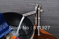bamboo basin faucet - 10 years guarantee good quality brush nickle tall wash face countertop vessel sinks bamboo basin faucet tap mixer