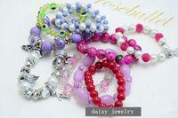 Wholesale Popular candy color beaded bracelets multi design crystal pearl resin bracelets fashion jewelry