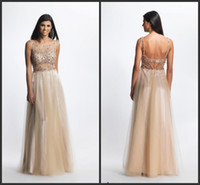 Reference Images Scoop Tulle 2014 Real Picture Vintage See Through A-Line Crew Backless Beaded Crystal Clear Stones Full Length Tulle Prom Evening Gowns Evening Dress