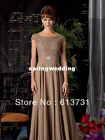 Wholesale A Line Sable Chiffon beaded lace Mother of the Bride Dress Gown with off shoulder