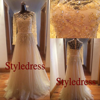 Real Photos Crew Tulle Elie Saab Sexy Real Actual Image Boat Neck Long Sleeves Gold Yellow Crystal Beads Fashion Sexy Prom Evening Dresses