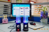 Cheap Wholesale-Dancing Water Speaker Music Audio 3.5MM Player for Iphone 4s 5 USB LED Light 2 in 1 USB mini Colorful Water-drop Show for Laptop P