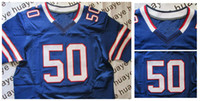 Wholesale Kiko Alonso Buffalo Embroidery American New Collar Elite Jersey Blue Man Elite Rugby Jersey Authentic On Field Jerseys NWT