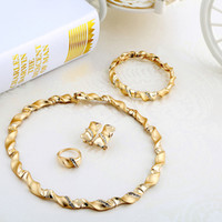Wholesale Marvelous Chain Necklace Jewelry Gold Plated Charming Small Rhinestone African Jewelry Sets A068