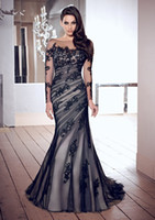 Wholesale 2013 Hot Selling Sexy Mermaid Black Lace Evening Dresses with Long Sleeves Appliques and Bateau Neckline