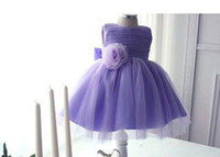 beautiful baby girl dresses - 2015 New Arrival beautiful Purple flower girl dress kids Sleeveless TulleTea Length baby girl princess dresses