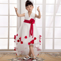 2014 Beautiful Little Girl Dress sash ribbon with flowers wedding party flower girl dress Organza gown