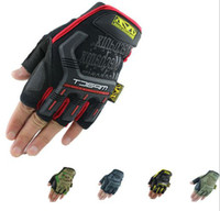 Wholesale new half finger MECHANIX Wear Tactical Gloves for Combat Work Army Military Racing Leather Motocross Gloves Colors S XL