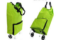 Wholesale 2PCS Portable Shopping Bag Foldable Luggage Cart Travel Trolley Bag Wheel L443