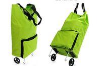 Folding shopping  Plain 2PCS Portable Shopping Bag Foldable Luggage Cart Travel Trolley Bag Wheel L443