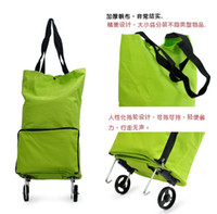 Folding shopping  Plain Free EMS Oxford Cloth Wheel Shopping Bag Baggage Car Bag + Shopping Trolley Bag With Wheel+Dual Reusable Shopping Bags L443