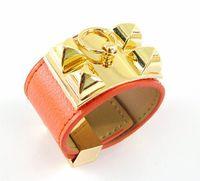 Wholesale Fashion brand h leather bracelet Punk style metal chunk bangle multicolor ring circle rivet pyramid leather bracelet