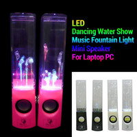 Cheap Dancing Water Speaker Music Audio 3.5MM Player LED Light 2 in 1 USB Mini Colorful Water Drop Show Fountain Speakers