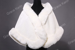 Wholesale GK Ivory Faux Fur Wedding Bridal Bride Wrap Shawl Cape Tippet CL4943