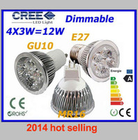 Wholesale 2014 HOT selling High power MR16 GU10 E27 W MR16 AC DC V power led bulb led lamp Real CREE