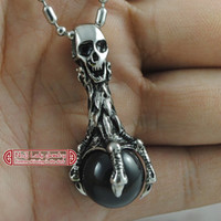 Pendant Necklaces agate skulls - Mens Jewellery Stainless Steel Skull Necklace Pendant Agate Stone Jewelry Fashion WP015