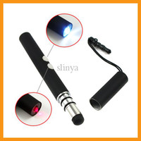 Wholesale 4 In Multifunction Capacitive Stylus Pen Portable LED Flashlight IR Laser Pointer Anti Dust plug For iPad