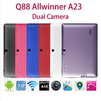 Wholesale 7 inch Q88 Dual Core tablet pc Allwinner A23 Android OS Ghz Capacitive Touch screen M RAM G ROMWIFI USB G webcam Tablet Pc
