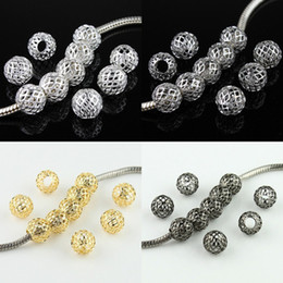 Wholesale Wholesales Fashion Mixed Colors Net Ball Spacer Big Hole Charm Beads Fit DIY European Bracelets x9mm