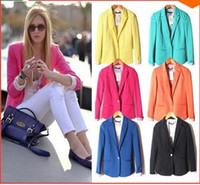 Wholesale Comfortable women s Blazers Candy color plus big size candy color one button blazer suit autumn jacket coat drop ship Y265