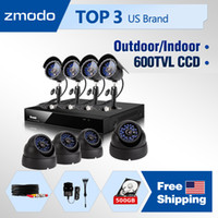 Wholesale Zmodo CH DVR recorder kits cctv home security camera system WITH bullet amp dome ft IR sony CCD video Surveillance Cameras GB HDD