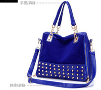Wholesale Handbags new European style frosted portable shoulder bag diagonal package rivet multi purpose female bag large bag