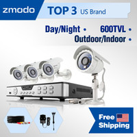 CCTV/Closed System - Wired 4 ZMD-KDB8-CARBZ4ZP Zmodo 8CH H.264 DVR cctv home security alarm system & 4 CMOS 600TVL IR CUT High Resolution Outdoor indoor Day Night surveillance Cameras