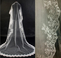 Cheap Cathedral wedding bridal veils ivory lace mantilla applique edge drop, car bone