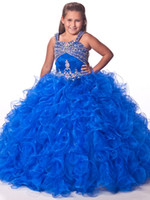 Wholesale 2014 Blue Plus Size Cute Girl s Pageant Dresses Ruffled Flower Girls Dresses Junior Girls Formal Gowns Organza Colorful Beads Cheap Sequin