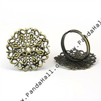 Wholesale Brass Filigree Ring Blank Ajustable Antique Bronze Lead Free Cadmium Free and Nickel Free Ring mm in diameter mm thick Tray a