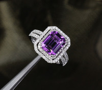 Wholesale 5 ct VVS Dark Purple Amethyst and DiamondsReal k White Gold Engagement Ring