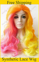Wholesale cheap heat resistant fiber two tone half pink half yellow long wavy Synthetic lace front wigs
