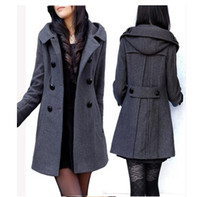 Wholesale Hot Sell spring and autumn new Big Yards Long Hooded Coat Cultivate One s Morality In The Double Breasted Wool Coat S XL k0724