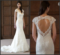 Wholesale Glorious Lace Sheath Wedding Dresses V Neck Beads Beading Ruched Bridal Gowns Pastels Chapel Train Dress Buttons Keyhole Gown