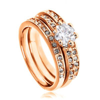 Wholesale S5Q New Fashion in Rose Gold Plated Crystal Engagement Wedding Ring Gifts AAAAUS