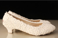 Wholesale 2014 Wedding Shoes White Low Heel Bridal Dress Shoes Evening Party Prom Shoes Lady Special Shoes for Anniversary Party