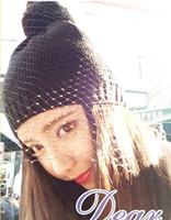 Wholesale Openlady mesh hat color Light c autumn winter veil bow net yarn knitting wool cap