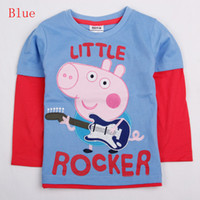 Wholesale A4343 Latest Nova Christmas m y boys t shirts kids cartoon clothing rocker Peppa pig clothes autumn winter cotton long sleeve tees